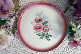 【スイス製NYON】ピンクの花柄のお皿
