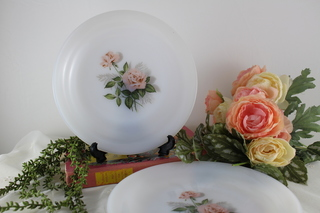 【ARCOPAL】ピンクの薔薇のデザート皿2枚B