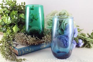 青と緑のグラスセット